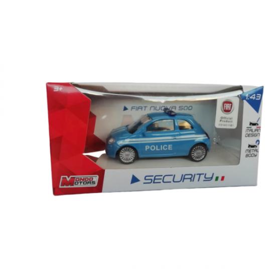 Modello Auto Statico Fiat 500 Polizia Scala 1/43 Mondo Giocattoli
